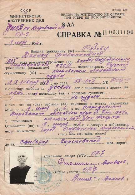 Справка об отбытии наказания Рябовым Денисом Филипповичем